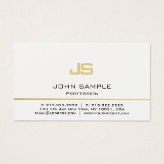 Minimalist Professional Modern White Gold Monogram Business Card