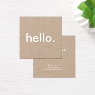 20000 minimalist business cards and minimalist business card minimalist rustic kraft hello square business card reheart Images