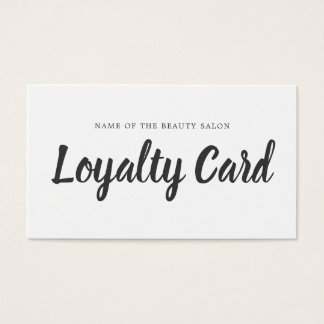 Minimalist Simple Black White Beauty Loyalty Card