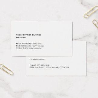 Minimalist Simple Black White Consultant Business Card