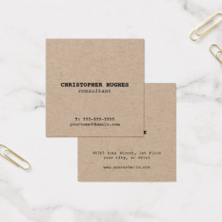 Minimalist Simple Elegant Kraft Consultant Square Business Card