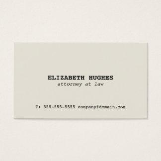 Minimalist Simple Elegant Old White Attorney Business Card