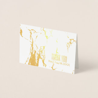 minimalist Wedding White Marble Thank You Foil Card