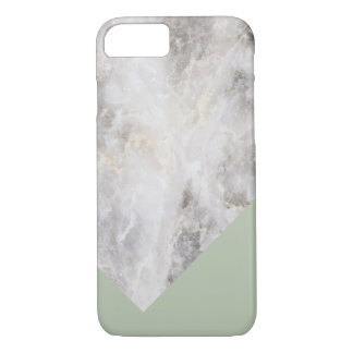 Minimalistic Marble w\ Color Block Olive Green iPhone 7 Case