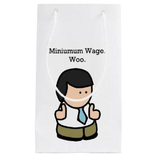 Minimum Wage Woo Funny Employee Cartoon Small Gift Bag