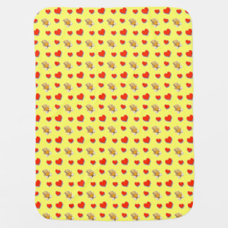 Miniture Teddy Bears and Hearts Baby Blanket