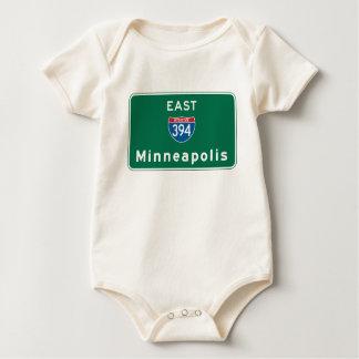 Minneapolis, MN Road Sign Baby Bodysuit