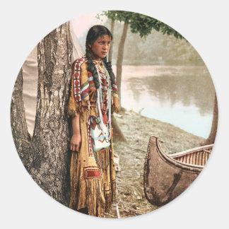 Minnehaha 1897 Native American Hiawatha Vintage Round Sticker