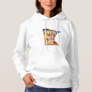 Minnesota U.S. State in watercolor text cut out Hoodie