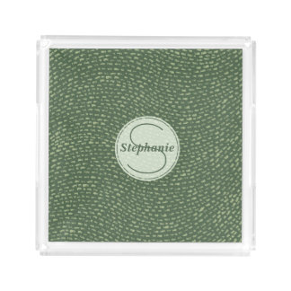 Mint and Army Green Customized Dash Mark Design Acrylic Tray