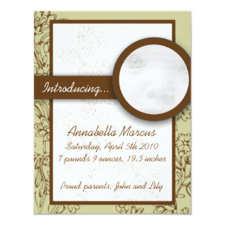 Mint and Brown New Baby Announcement Cards