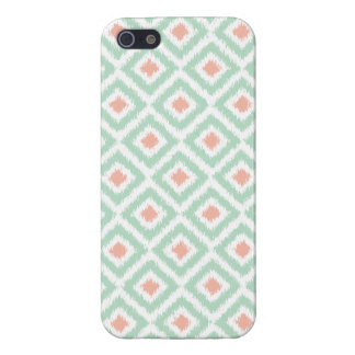 Mint and Coral Diamond Ikat Pattern iPhone 5/5S Case