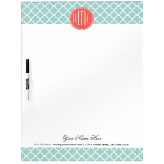Mint and Coral Quatrefoil with Custom Monogram Dry Erase Board