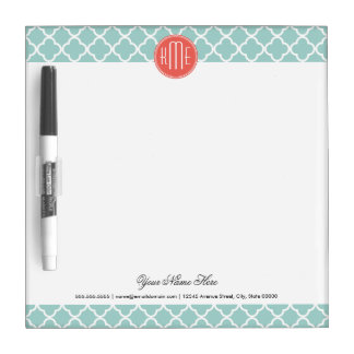 Mint and Coral Quatrefoil with Custom Monogram Dry-Erase Whiteboards
