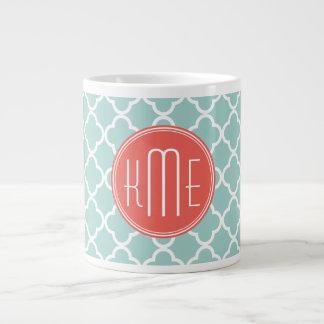 Mint and Coral Quatrefoil with Custom Monogram Large Coffee Mug