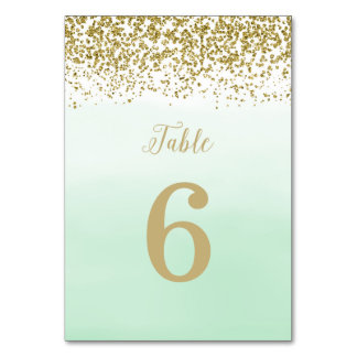 Mint and Gold Wedding Table Number Card