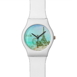 Mint and Green Pastels Impressionist Paris France Watch