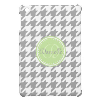 Mint and Grey Houndstooth Monogram Pattern Case For The iPad Mini