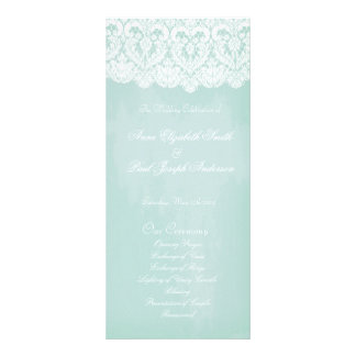 Mint and lace wedding program personalized rack card