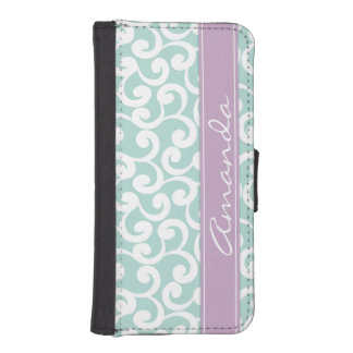 Mint and Lilac Monogrammed Elements Print iPhone SE/5/5s Wallet Case