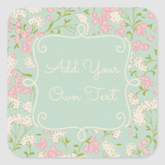 Mint and Pink Vintage Flower Stickers