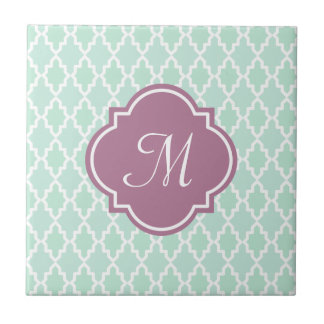 Mint and Plum Moroccan Monogram Small Square Tile