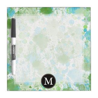 Mint Aqua Watercolor Abstract Monogram Dry-Erase Whiteboard