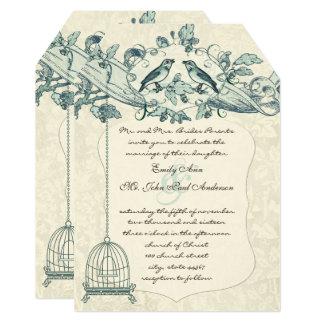 Mint Bird Cage Oak Vintage Birds Scroll Wedding Card