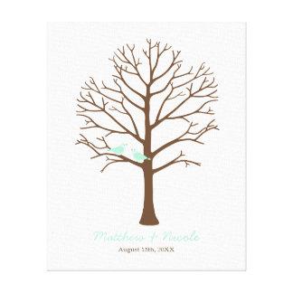 Mint Birds Brown Fingerprint Tree Wedding Canvas Print
