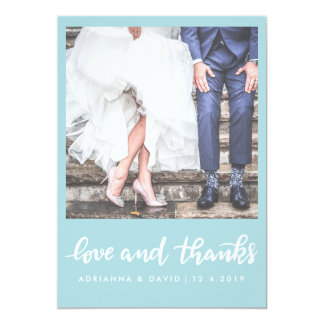 Mint Blue | Photo Wedding Love And Thanks Script Card