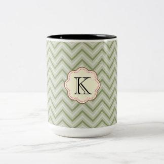 Mint Chevron Two-Tone Coffee Mug