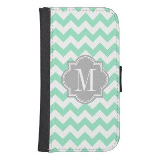 Mint Chevron with Gray Monogram Samsung S4 Wallet Case