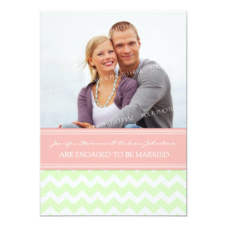 Mint Coral Chevrons Photo Engagement Announcement