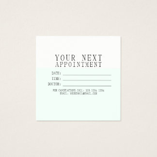 MINT CREAM Delicate Minimalist Modern Appointment Square Business Card