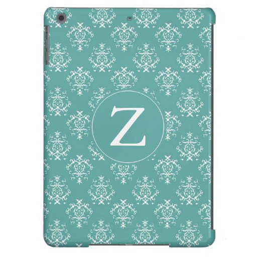 Mint Damask Monogram Cover For iPad Air