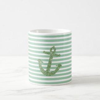 Mint Faux Glitter Nautical Anchor Coffee Mug