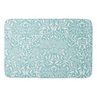 Mint Floral Damask Pattern Bath Mat