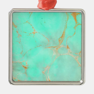 Mint & Gold Marble Abstract Aqua Teal Painted Look Christmas Ornament