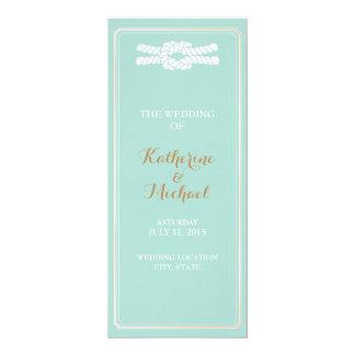 Mint & Gold Wedding Program- Nautical - beach glam Card