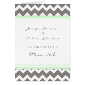 Mint Gray Chevron Engagement Announcement Card