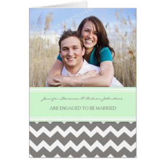 Mint Gray Chevrons Engagement Photo Announcement
