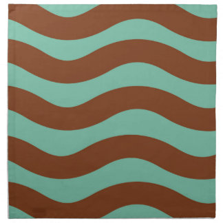 Mint Green and Brown Waves Napkin