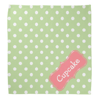 Mint Green and Coral Pink Polka Dot Personalized Kerchief