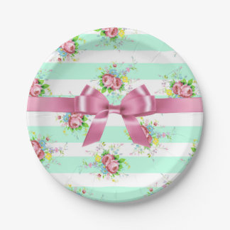 Mint Green and Pink Floral Cake Paper Plates