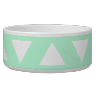 Mint Green and White Geometric Pattern. Dog Bowls