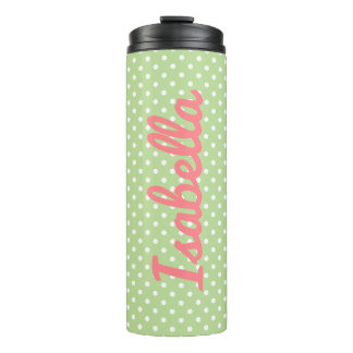 Mint Green and White Polka Dot Personalized Thermal Tumbler