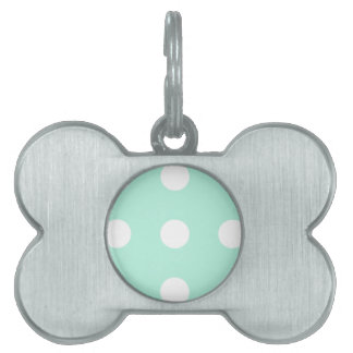 mint green and white polka dots pet name tags