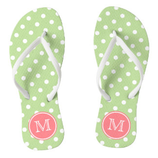 Mint Green and White Polka Dots with Coral Pink Jandals