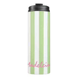 Mint Green and White Stripes Personalized Thermal Tumbler