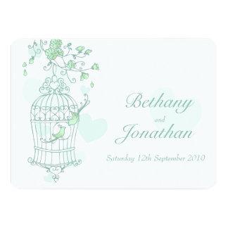 Mint green birds open cage wedding invitation
